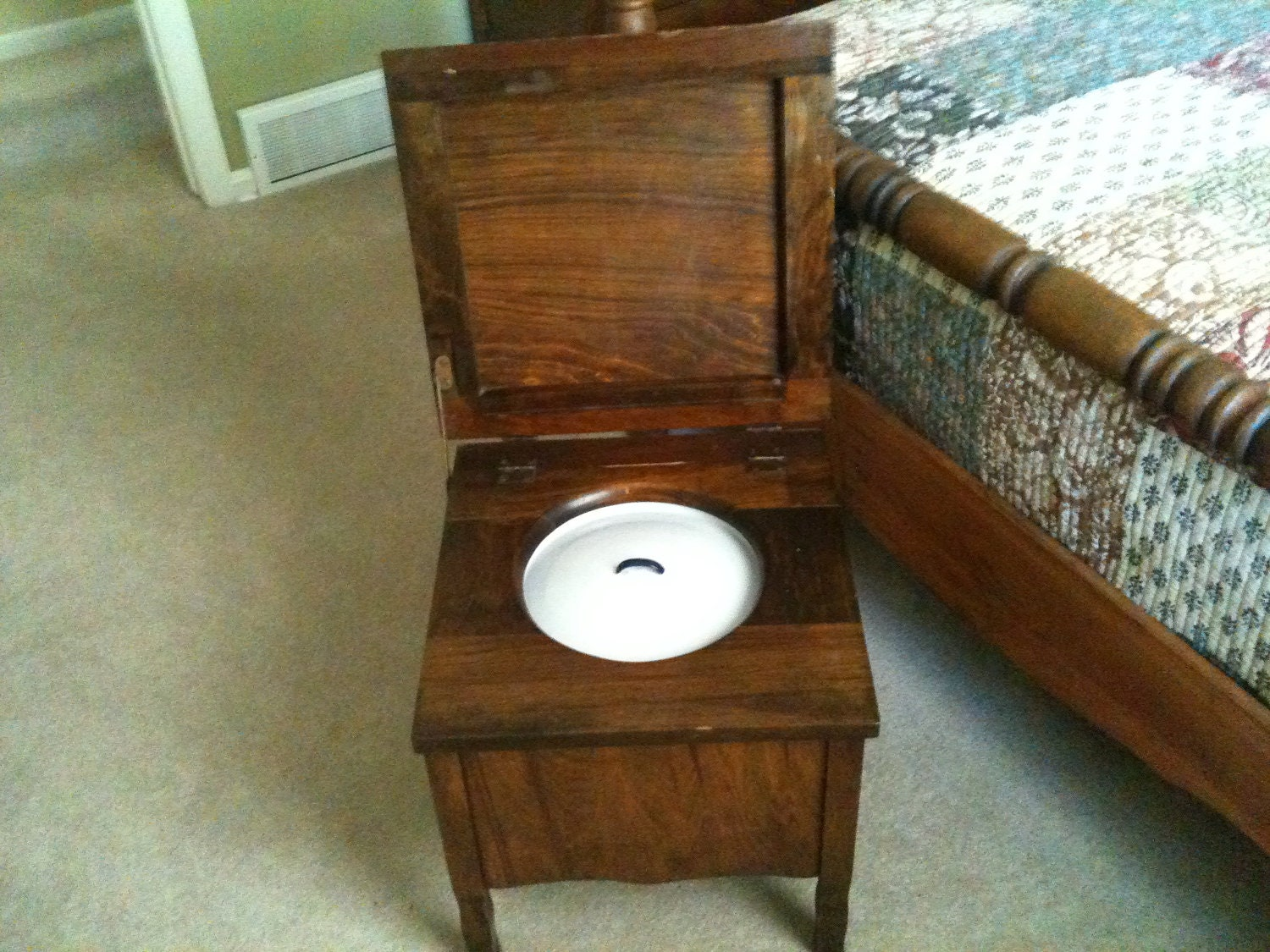 antique commode wood toilet enamelware by buckcreekfurnishings. Black Bedroom Furniture Sets. Home Design Ideas