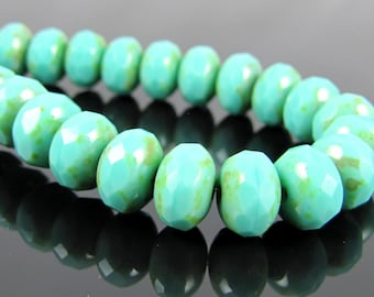 CLOSEOUT SALE for Czech Glass Faceted Gemstone Donut-Turquoise Picasso 9x6mm-25 Beads