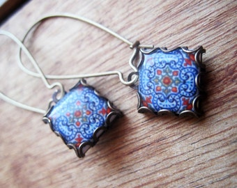 Portuguese tile jewelry, Iberian dangle earrings, handcrafted jewelry, Spanish tile drop earrings, Gypsy Boho chic, hand made jewelry