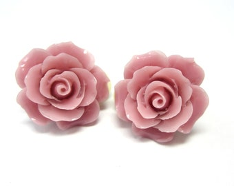 Rose Pink Colored Clip On Earrings.