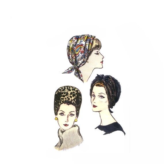 60s Turban Style Hats one size Vogue mad men