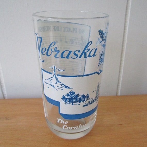 vintage Nebraska state song glass