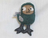 teal bird pin/wearable mini-plush