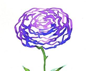 Magenta Watercolor Rose Art Print