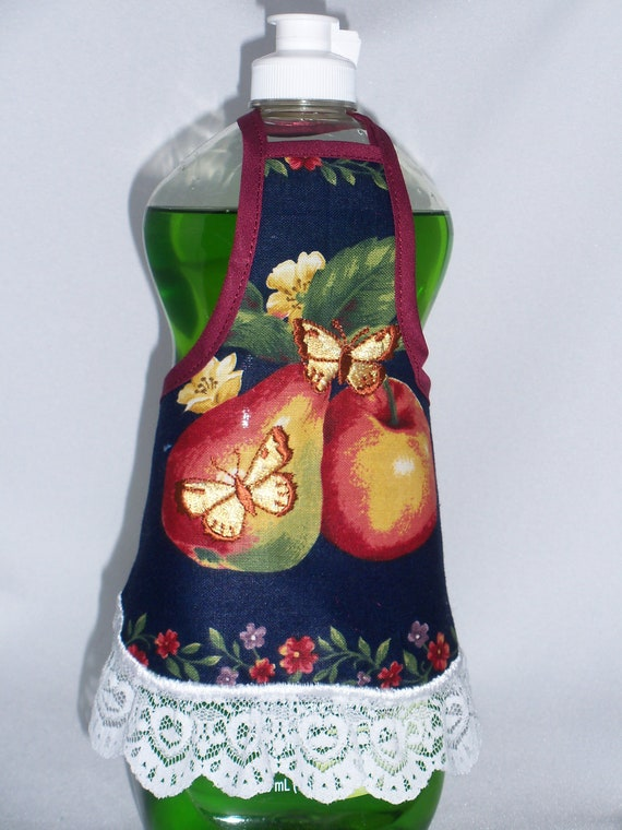 Apple Pear Embroidered Butterfly Dish Soap Bottle Apron Cover