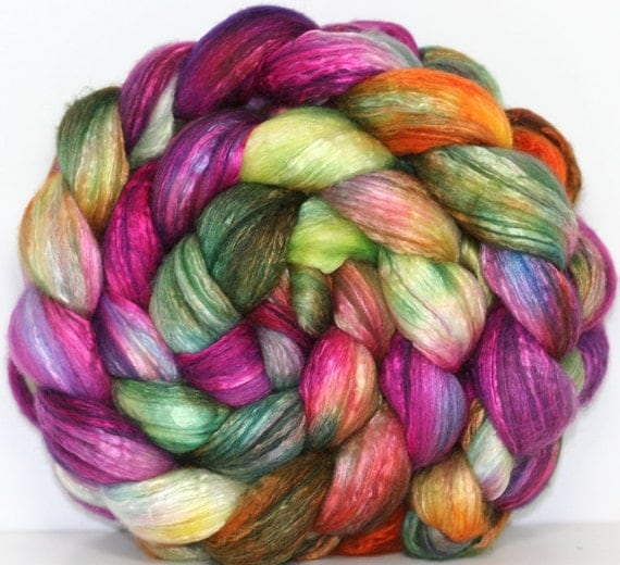 Hand dyed 50/50 Merino/Silk blend Combed Top-- 4.1 oz --