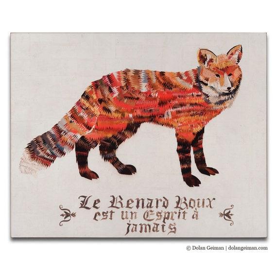Red Fox Print on Wood