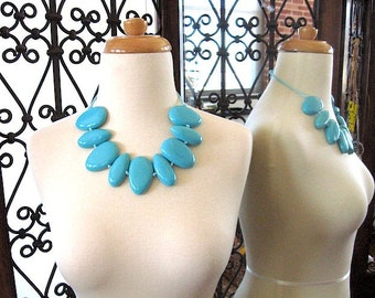 SALE Sky Blue Chunky Big and Bold - Bubble Necklace - Summer Trends - Color Block Jewelry - Diy Wedding - Bridal Jewelry