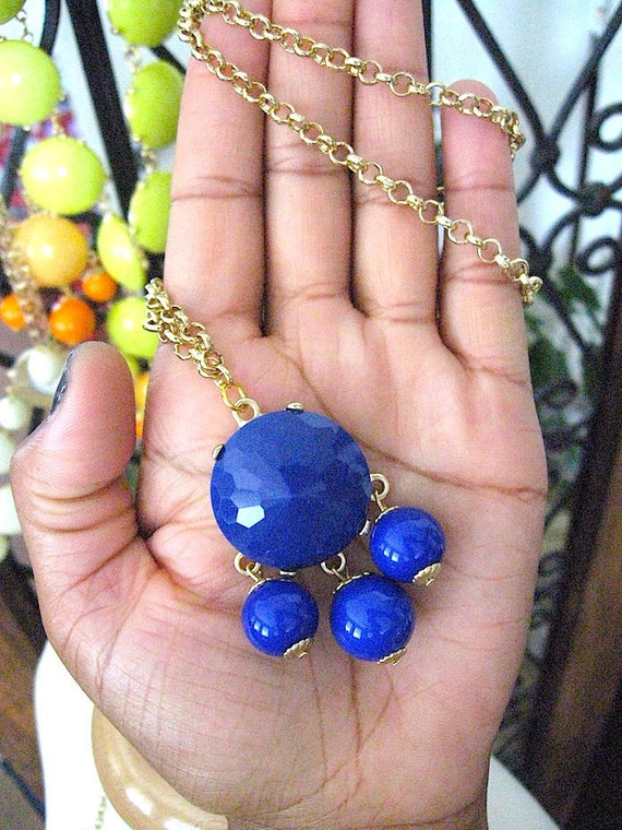 Sale Free Shipping from USA - Blue Bubble Necklace - JCrew Inspired - Long Chain Chandelier - Ready to Ship