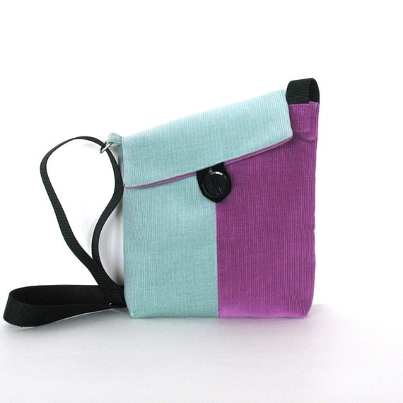 Small messenger bag  Corduroy girls  cross body bag in purple and teal , Teens gift idea
