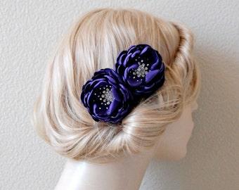 Wedding Shoe Clips,  Midnight Purple flowers, Bridesmaid Hair Flowers - Wedding Sash Accessory 2 Piece Set Midnight Purple Petals