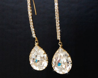 Wedding Crystal Earrings, Bridal Chandelier Swarovski Crystal Cubic Zirconia Drop Earrings, Wedding Jewelry  - Decadence In Gold