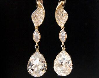 Wedding Chandelier Earrings Wedding Accessories,  Swarovski Crystal Cubic Zirconia Large Drop Earrings - Sabina