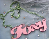 Ultraluxe Pink and Green FOXY Acrylic Necklace
