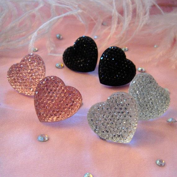 Crystal Heart Stud Earrings- Silver, Pink or Black