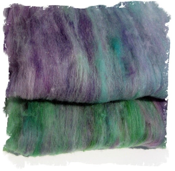 Hand dyed Carded Batts  for Spinning or Felting - Purple and Green - Alpaca and Merino - 2.2 ounces - 60 grams