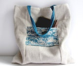 Linen tote knit bag ecru teal blue large purse cotton knit pocket memake handmade handbag fashion