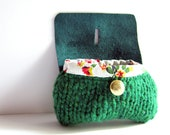 Small wool purse emerald green tweed knitted pouch bag leather coin purse gold button vintage fabric memake handmade