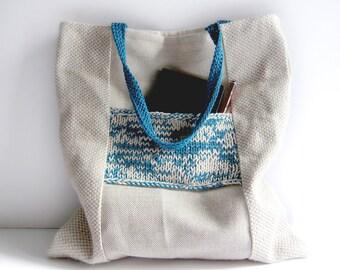 Linen tote knit bag ecru teal blue large purse cotton knit pocket memake handmade handbag fashion