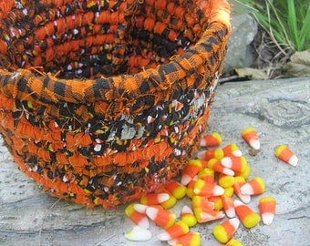 CANDY CORN   Hand coiled fabric art BASKET