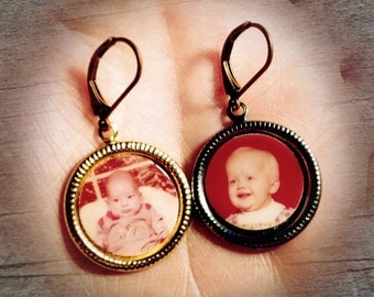 Baby Portrait Earrings - Upcycled, OOAK