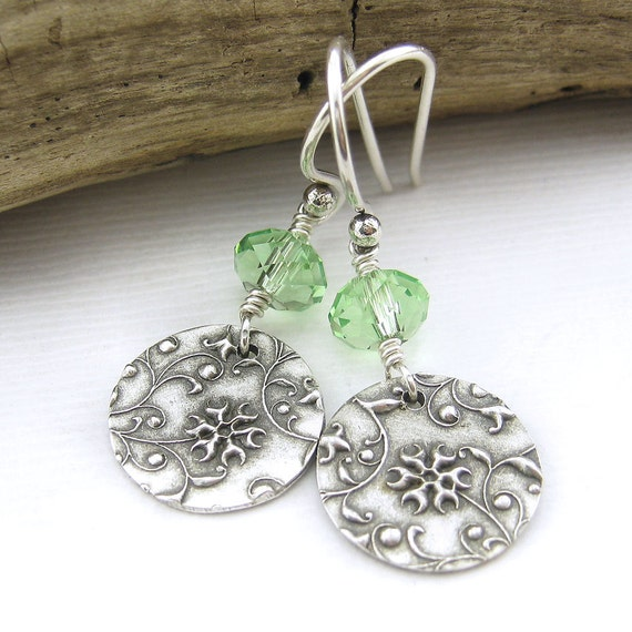 Peridot Earrings Swarovski Crystal Jewelry Sterling Silver August Birthday Birthstone Grass Green Fashion Jewelry Tracey No. 31
