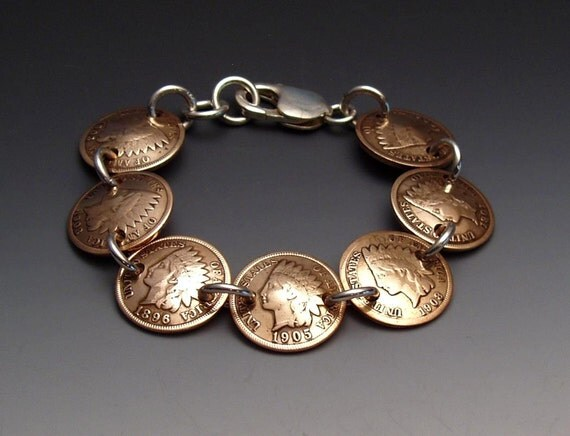 Indian Pennies Bracelet made from 7 Vintage American Coins