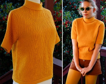 MUSTARD Yellow 1960's Vintage Acrylic Sweater with Wood Grain Print by Rosanna size Medium