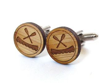 Canoe and Paddles Cufflinks. Canoe Cufflinks. Nautical. Wood Cufflinks. Groomsmen Gift. Groom Gift. Gift For Men. Mens Gift. Gifts For Dad.
