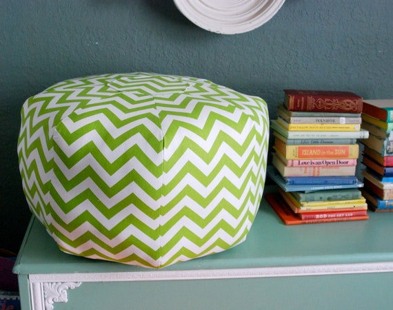 "Chevron Pouf - Ready to Ship 24"" Ottoman Lime Green and White Print"