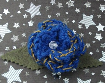 Idris - Crocheted Rose Lapel Pin - Blue and Gold (SWG-PL-DWID01)