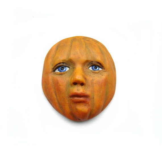 Pretty Pumpkin Art Face Cab Blue Eyes Halloween Jack O Lantern Goddess Doll Harvest Fall 2655 polymer clay
