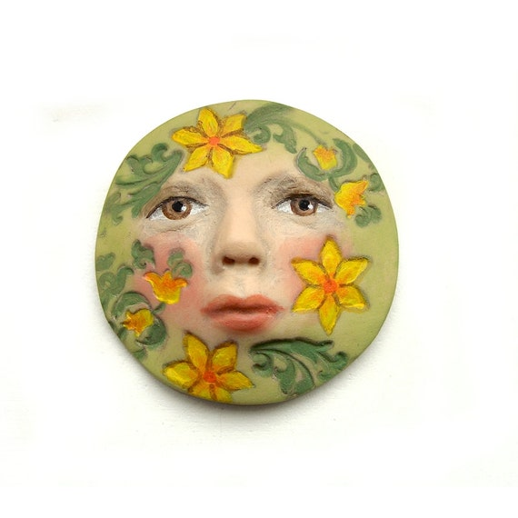 Yellow Flowers Beauty Art Doll Face Cab Round Goddess Green Garden Floral Polymer Clay Cabochon 2694