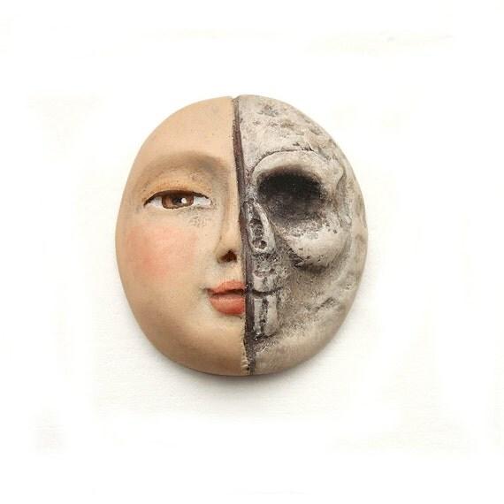 Two Face Split Skull Bone Lady Halloween Art Doll Cab Polymer Clay Cabochon Half and Half Skeleton Dia De Los Muertos Day of the Dead 2703