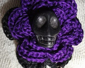 Purple Black Gothic Crochet Brooch Pin Hatpin Flower Floral Pirate Halloween Skull Mourning