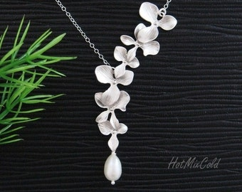 Orchid Flower and Freshwater Teardrop Pearl STERLING Silver Necklace,  Bridal Wedding Jewelry, Bridesmaid gifts, Formal