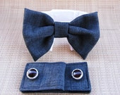 Cuffs and Bow Tie Wedding Wear for Dogs: Dark Linen Gray