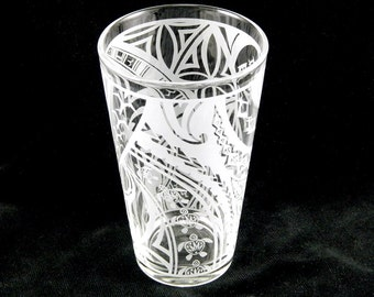 Samoan Turtle Pint Glass - Etched Glassware - Custom Made to Order