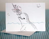 Narwhal Blank Greeting Card