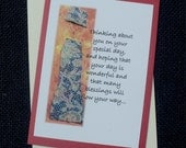 Thinking About you on Your Special Day Mixed Media Note Card