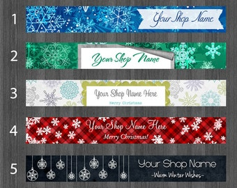 Etsy Shop Banners Holiday, Christmas Shop Banner, Snowflake Shop Banner, Snow Etsy Banner, Ornament Shop Banner, Cover Photo, Red Plaid