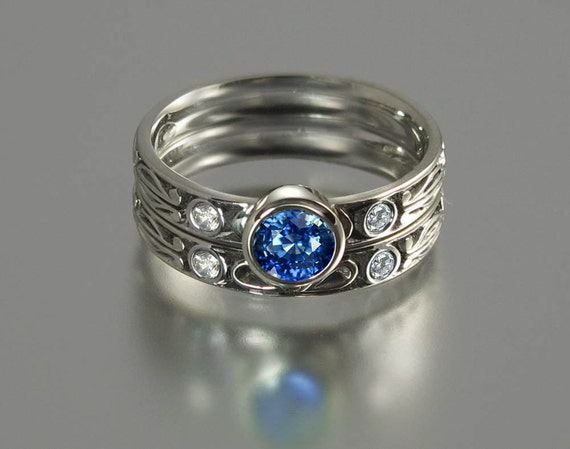 AUGUSTA Blue Sapphire silver ring and band with diamond accents RESERVED for C.