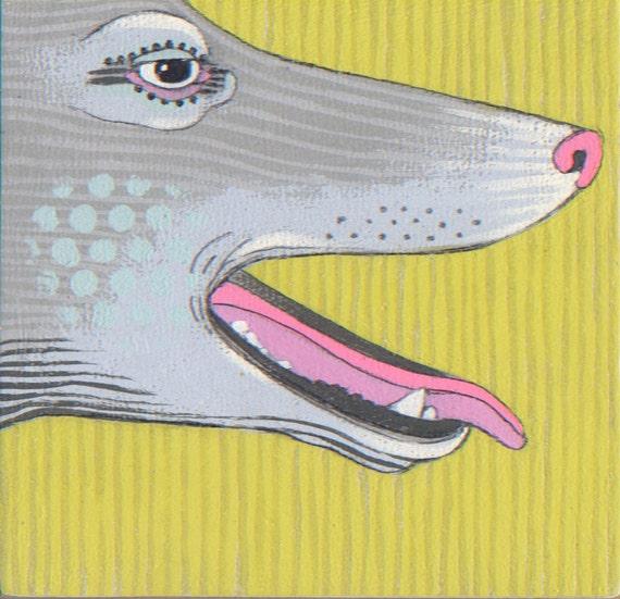 pup - tiny oringinal painting - art