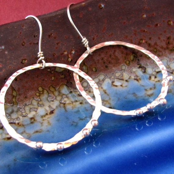 Dotted Hoops: Sterling Silver Riveted Hammered Dangling Circle Earrings