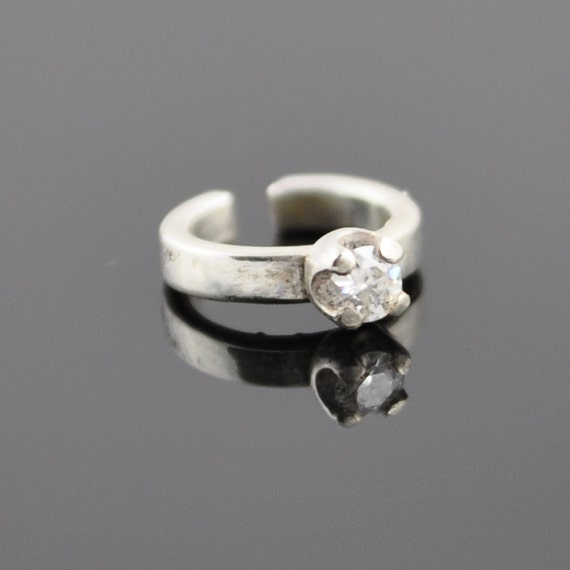 White Moissanite and Sterling Silver Solitaire Engagement Doll Ring - For SD sized BJD