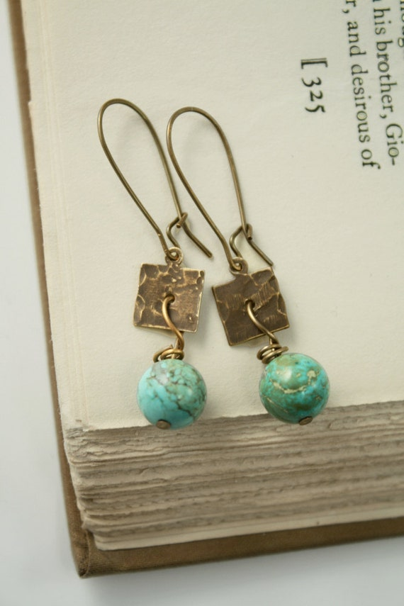 "Artisan Brass and Turquoise Hammered ""Journey"" Earrings"