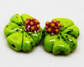 Made to order Margo lampwork beads lily pond earrings pair