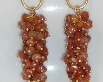 Bronzed Kiss - sunstone, vermeil and gold-filled earrings