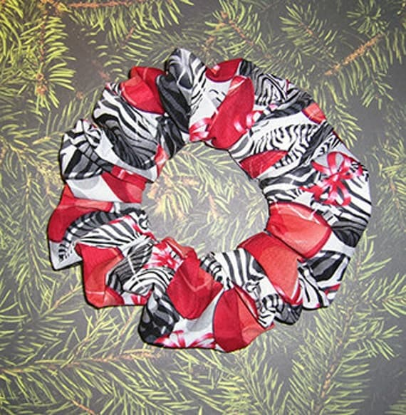 Modern Christmas Hair Scrunchie,  Zebra & Red Ornament Ponytail Holder, Holiday Hair Tie