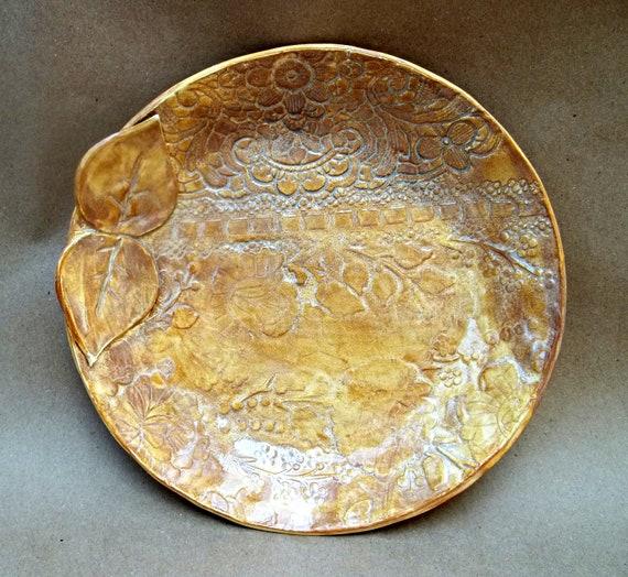 Ceramic Lace Damask Bowl  Mustard
